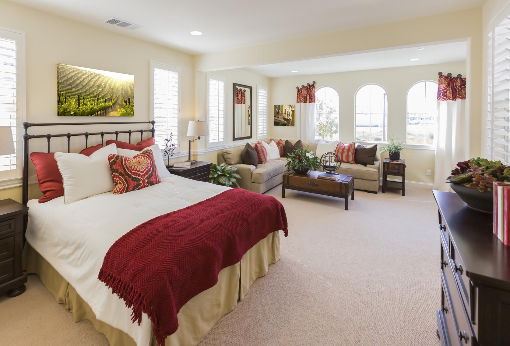 Beautiful New Custom Bedroom Interior of a New Home.